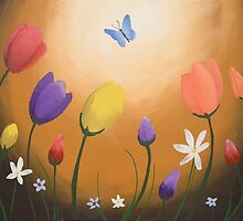 day of the butterfly tulips poppies flower art floral by wrightsonarts