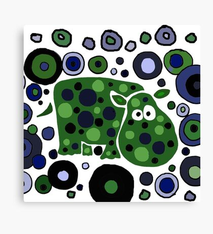 Funky Blue and Green Abstract Art Hippo Canvas Print