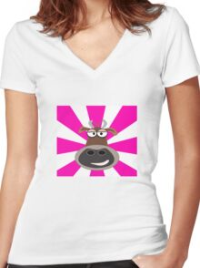Funky Cow Women's Fitted V-Neck T-Shirt