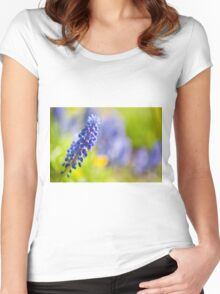 One blue Muscari Mill flower  Women's Fitted Scoop T-Shirt