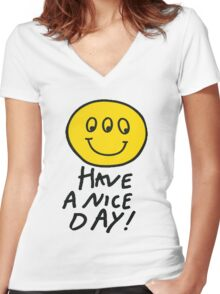 Third Eyed Smiley  Women's Fitted V-Neck T-Shirt