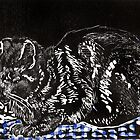 Snoozing cat on Blue check cloth by Pat  knight