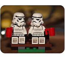 Stormtrooper cuppa park bench Photographic Print