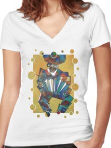 The Accordian Player Women's Fitted V-Neck T-Shirt
