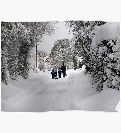 Walking in the snow. Poster