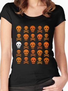 Halloween Pattern V (Orange + white on transparent) Women's Fitted Scoop T-Shirt