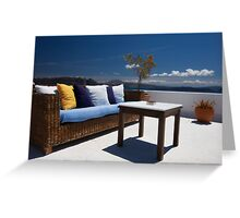 balcony exterior and sea panorama view Greeting Card