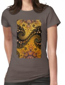 Golden dragon spirals and circles, fractal patterns Womens Fitted T-Shirt