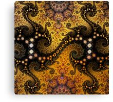 Golden dragon spirals and circles, fractal patterns Canvas Print