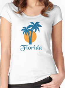 Palms and orange sun Women's Fitted Scoop T-Shirt