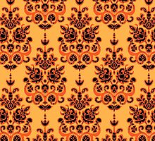 Halloween gold damask ikat by Sharon Turner