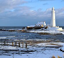 St Mary's Lighthouse and Posts, Winter by Digimo
