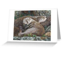 Sleeping Otters Greeting Card