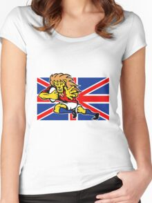 british lion rugby running ball Women's Fitted Scoop T-Shirt