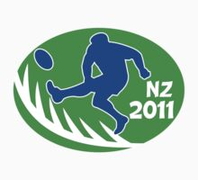 rugby player kicking ball new zealand 2011 One Piece - Short Sleeve