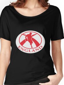 rugby player running with ball England flag Women's Relaxed Fit T-Shirt