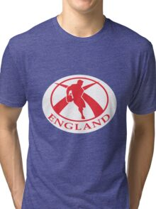 rugby player running with ball England flag Tri-blend T-Shirt