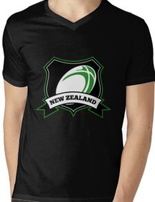 Rugby Ball New Zealand shield Mens V-Neck T-Shirt