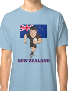 Rugby player running ball New Zealand flag Classic T-Shirt