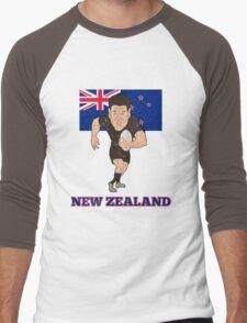 Rugby player running ball New Zealand flag Men's Baseball ¾ T-Shirt