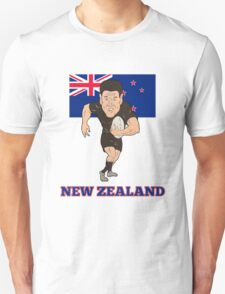 Rugby player running ball New Zealand flag Unisex T-Shirt