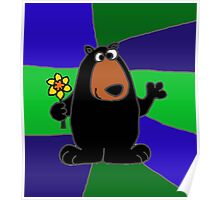 Funky Black Bear Holding Yellow Daffodil Flower Poster
