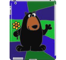 Funky Black Bear Holding Yellow Daffodil Flower iPad Case/Skin