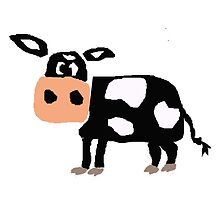 Funny Primitive Art Black and White Cow by naturesfancy