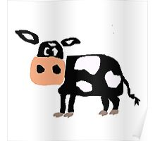 Funny Primitive Art Black and White Cow Poster