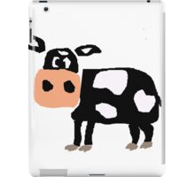 Funny Primitive Art Black and White Cow iPad Case/Skin