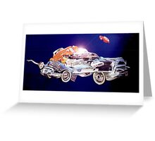 Car in Space. Greeting Card