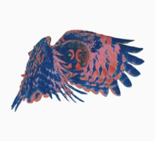 Owl in flight - Orange/Blue  One Piece - Long Sleeve