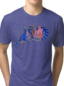 Owl in flight - Orange/Blue  Tri-blend T-Shirt