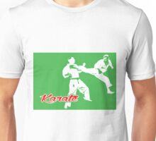 Karate Jumping Back Kick Green  Unisex T-Shirt