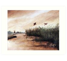 Among the Reeds - Oil painting (1978) Art Print