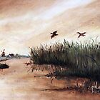 Among the Reeds - Oil painting (1978) by Martin Lom