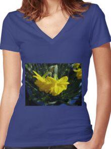 Nodding Daffodils Women's Fitted V-Neck T-Shirt