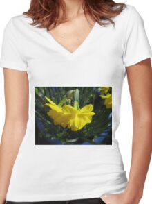 Nodding Daffodils Women's Fitted V-Neck T-Shirt