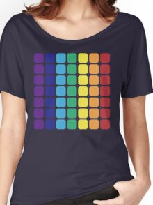 Vertical Rainbow Square - Dark Background Women's Relaxed Fit T-Shirt