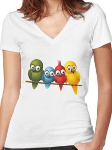 Cute overload - Birds Women's Fitted V-Neck T-Shirt