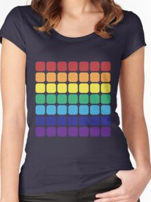 Rainbow Square - Dark Background Women's Fitted Scoop T-Shirt