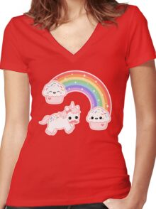 Cute Cupcake Unicorn Women's Fitted V-Neck T-Shirt