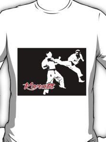 Karate Jumping Back Kick Black  T-Shirt