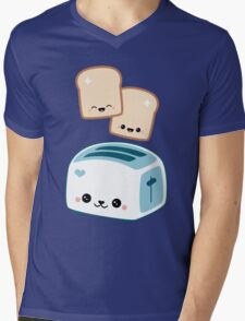 Happy Flying Toast Twins Mens V-Neck T-Shirt