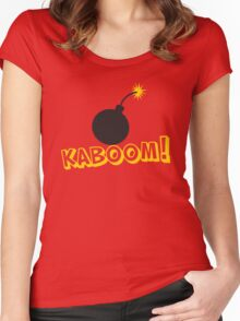 KABOOM cartoon explosion noise with bomb Women's Fitted Scoop T-Shirt