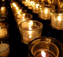 Prayer Candles at Washington National Cathedral by Keith R Bujak