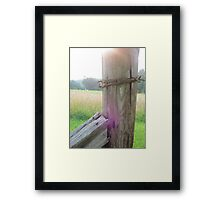 Barbed Wire Fence near Hay Field Framed Print