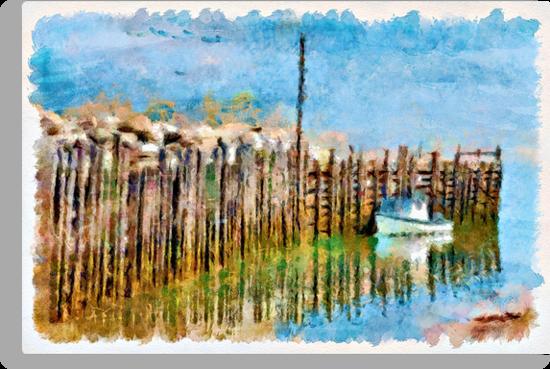 Margaretsville Wharf - watercolour by PhotosByHealy