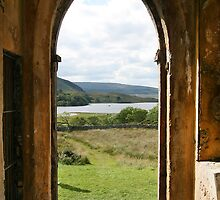 Old Church Dunlewey Donegal Ireland - view from door by Peter Gorman