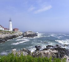 High Tide at Portland Head Light by quiltmaker